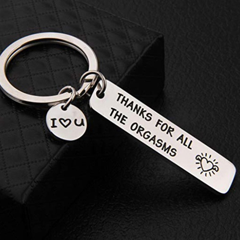 Stainless Steel Keychain Engraved Thanks For All The Orgasms Keyring For Couples Jewelry Gift Porte Clef  Llaveros Para Mujer