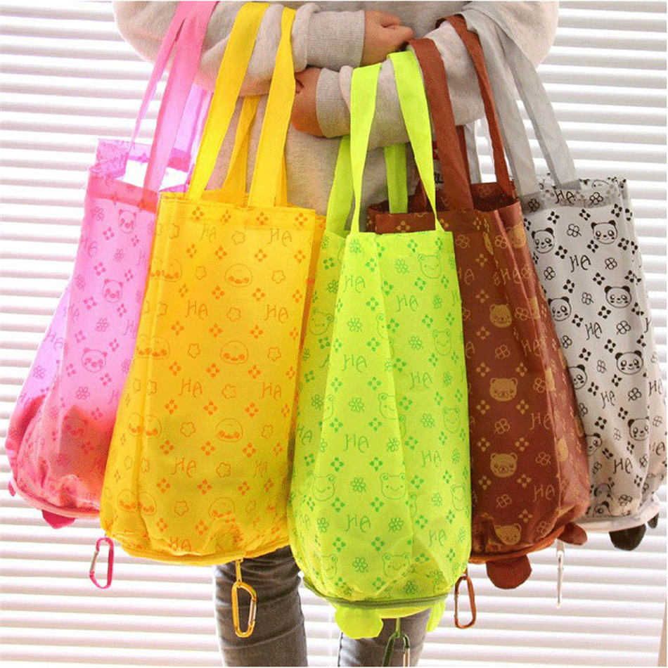 Cartoon Animal Foldable Shopping Bags Tote Reusable Grocery Bag Panda Frog Pig Bear Waterproof Shopping Bags Storage Bags