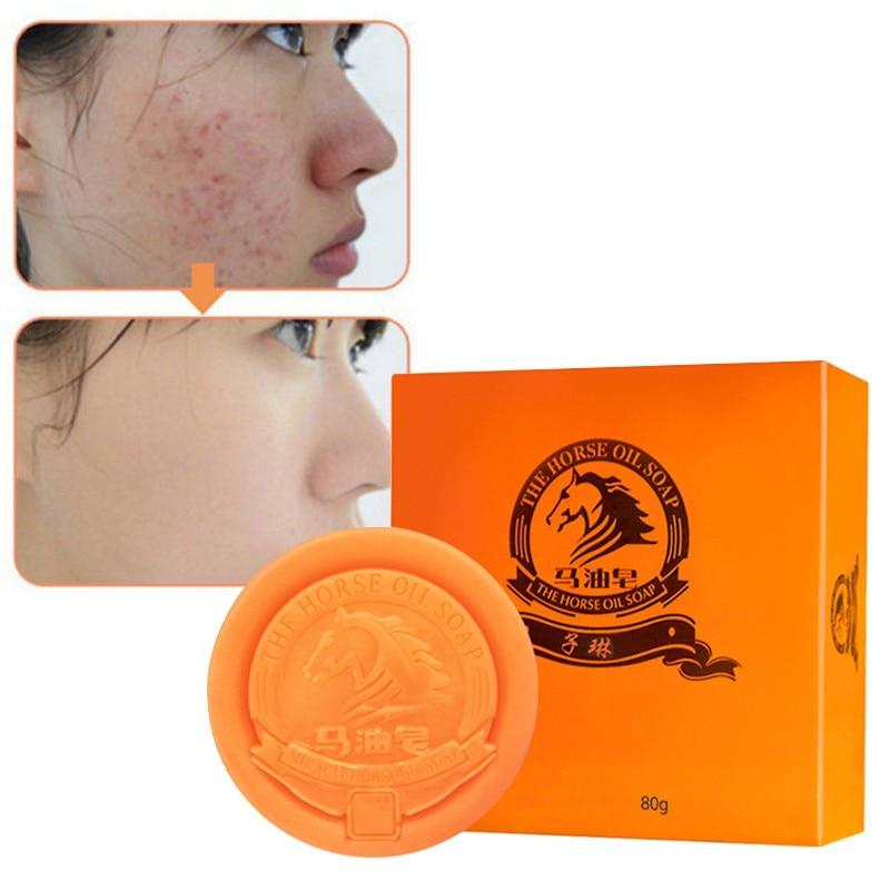 Oil-Control Moisturizing Shrink Pores Firming Skin Remove Blackheads Handmade Body Face Skin Soap Horse Oil Anti-Mites Soap