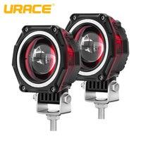 """URACE 3 """"20 W moto phare LED 12V 24V moto projecteurs rouge Angle oeil conduite antibrouillard pour tout-terrain 4x4 ATV lumière de travail"""