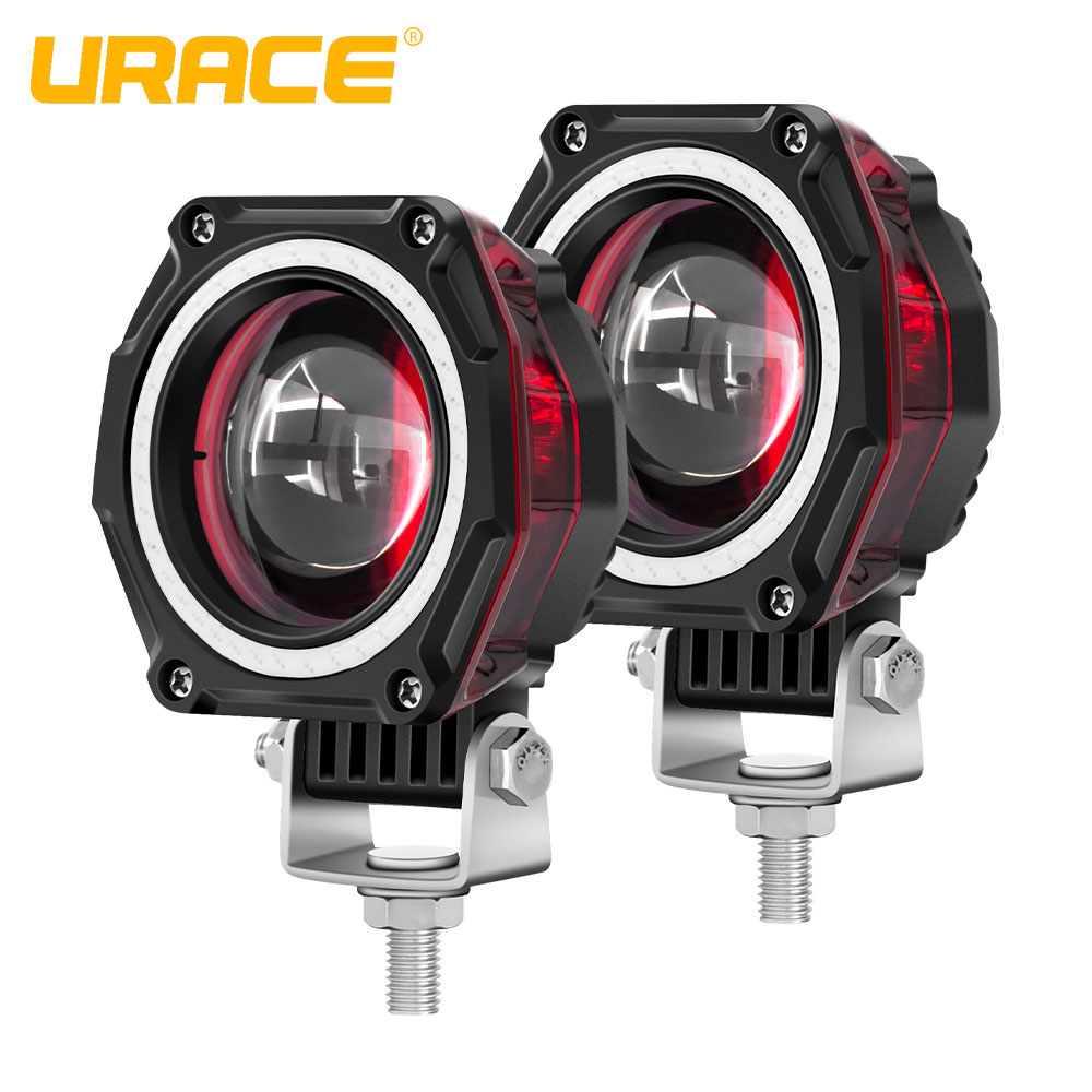 "URACE 3"" 20W Motorcycle LED Headlight 12V 24V Motorbike Spotlights Red Angle Eye Driving Fog Lamp For Offroad 4x4 ATV Work Light"