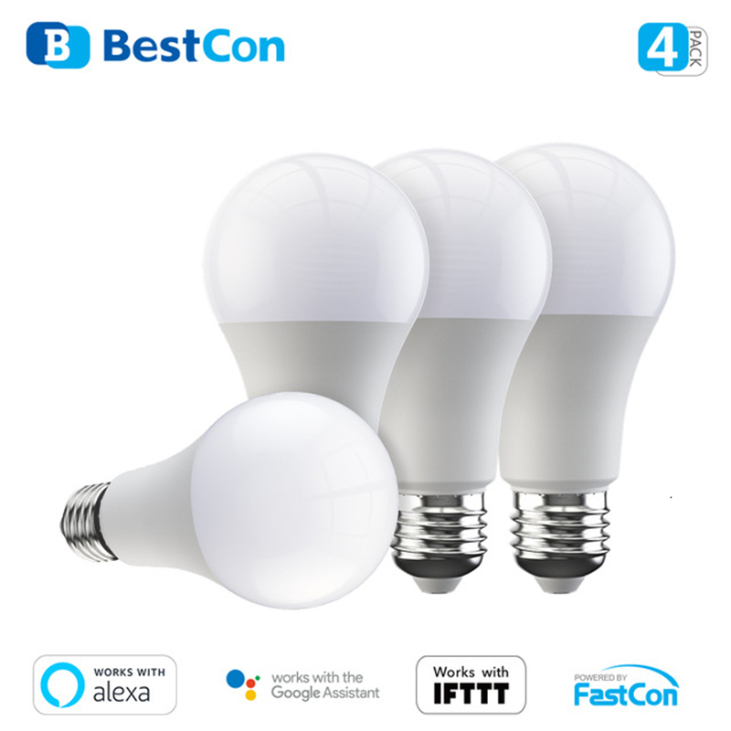 4 Pack New BroadLink BestCon Smart Wi-Fi LED Bulb LB1 Dimmer Bulb Light Voice Control With Alexa And Google Home