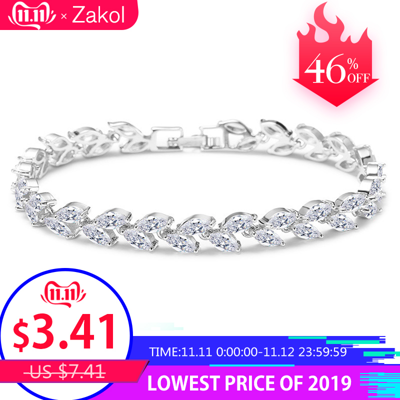ZAKOL Trendy Bride Jewelry Sliver Color Leaf Charm Cubic Zirconia Bracelet & Bangles Clear CZ Crystal Bangles For Women FSBP061