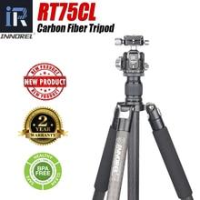 Rt75cl 10 camadas de fibra carbono tripé profissional monopé com panorâmica baixa gravidade centro bola cabeça para digital dslr câmera