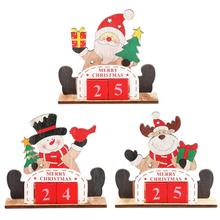 Calendar Christmas Creative Wooden Family Table Desktop Stand Gift Decoration Ornament