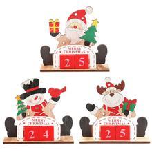 Calendar Christmas Creative Wooden Christmas Calendar Family Table Desktop Stand Gift Decoration Ornament