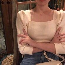 Neploe – t-shirt à manches bouffantes et col carré pour femme, haut Chic et résistant, à la mode, style coréen, 1A367, printemps 2021