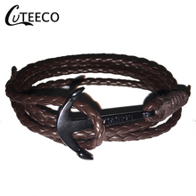 CUTEECO Fashion Trend Bracelet Men And Women Nylon Rope Navy Wind Anchor Handmade Couple Bracelets Coffee Skin
