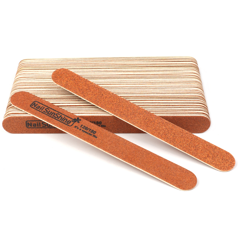 50Pcs Strong Thick Wood Nail File 120/180 Sandpaper Lima Nail Buffer Manicure Brown Wooden Sanding File Acrylic Nail Supplies