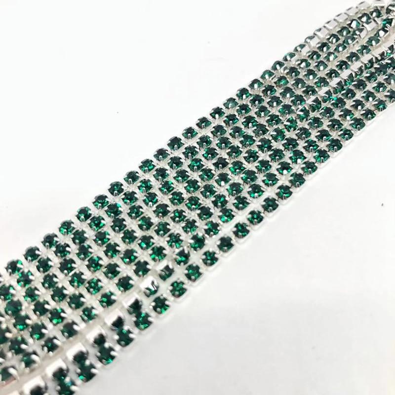 1 ярд/шт, 30 цветов, стеклянные хрустальные стразы на цепочке, Серебряное дно, Пришивные цепочки для рукоделия, украшения сумок для одежды - Цвет: Dark green