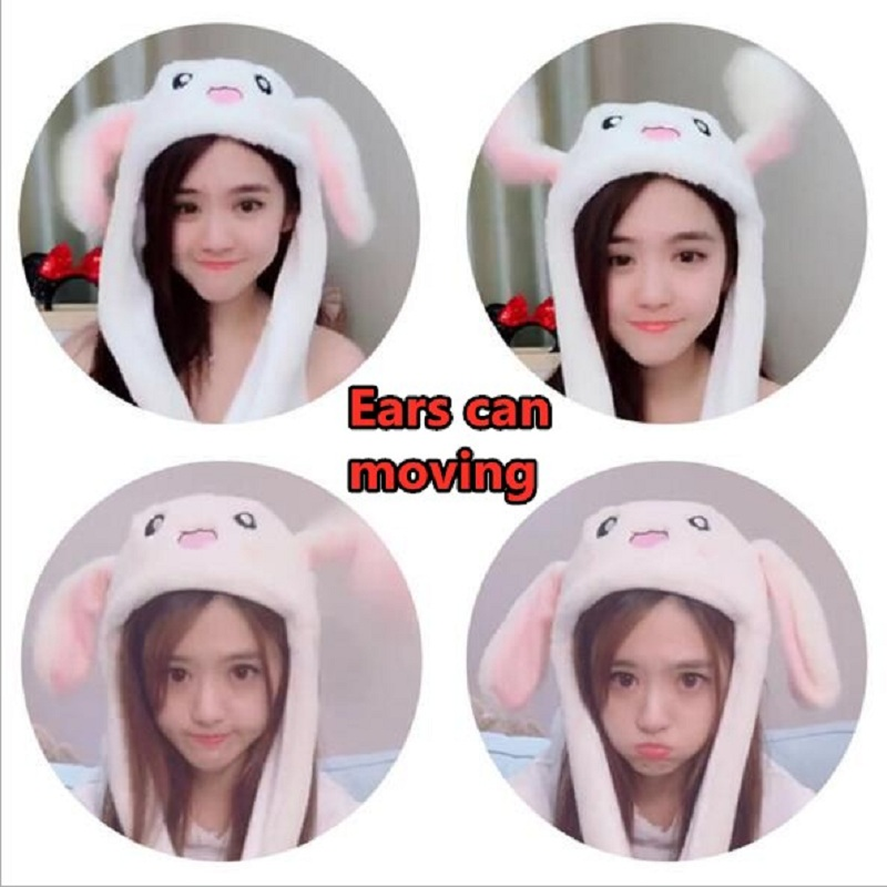 2019 Fashion Moving Hat Rabbit Ears Plush Sweet Cute Light Cap 6 Color Can Be Choose