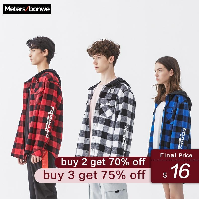 Metersbonwe 2020 Spring New Men Long Sleeve Cotton Shirt Loose Plaid Student Shirt Leisure Retro Hooded Shirt Men