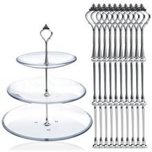 10Pcs of 3 Tier Three Layers Cake Plate Stand Holder Crown Metal Rod Fitting Hardware Rod Plate Holder Silver