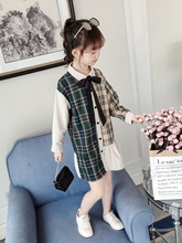 Plaid Kids Dresses for Girls with Sleeves 2019 Autumn Party Blouse Long Bow