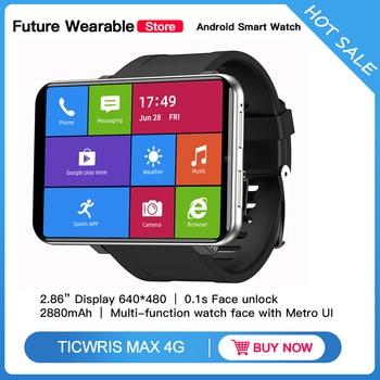 TICWRIS MAX 2.86'' HD Screen Smart Watches Android 3G+32G 4G-LTE 2880mAh Battery Capacity 8MP Camera GPS Smart Watch Men Women