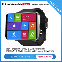 """[إفتح الوجه] TICWRIS MAX ساعة ذكية الرجال النساء الساعات 2.86 """"شاشة HD ساعة  ذكية 3G + 32G 4G LTE 2880mAh كاميرا 8MP GPS ساعة ذكية الهاتف الهاتف Intelingence سوار المعصم"""