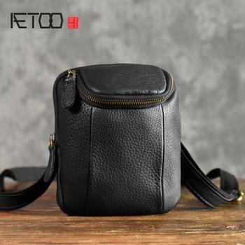 AETOO Leather Messenger Bag casual vintage Phone Pocket Shoulder Mini Mens Flap Soft Small