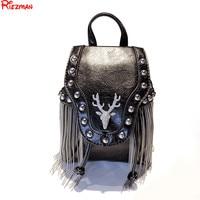 Fashion Tassel Messenger Bags Women Casual Fawn Rhinestone Crossbody Bag Ladies Mini Rivet Shoulder Bags Chain Phone Bag mochila
