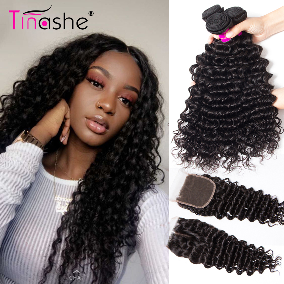 H0d2c523435354fc783246693ce581b4bE Tinashe Deep Wave Bundles With Closure 5x5 6x6 Lace Closure And Bundles Remy Brazilian Human Hair Weave 3 Bundles With Closure