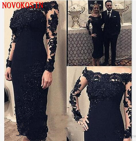 2020 Black Applique Beaded Lace Mother Of The Bride For Wedding Boat Neck Illusion Long Sleeve Party Dress Sheath Groom Dress