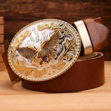 gold eagle big buckle full grain real leather 100% genuine leather hawk mens belts luxury high quality camel brown cowboys women