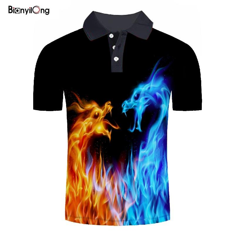 BIANYILONG 2019 new men   polo   brand high quality Ice and fire dragon 3D printed men   polo   shirt summer tops tees   polo   homme