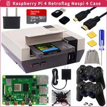 Raspberry pi 4 retroflag nespi 4 caso + ssd ventilador de refrigeração cartão dissipadores de calor gamepad leitor para raspberry pi 4 modelo b