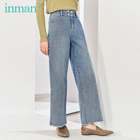 INMAN 2020 Spring New Arrival Literary Pure Cotton High Waist Loose Wash Slimmed Straight Cylinder Pant Jeans