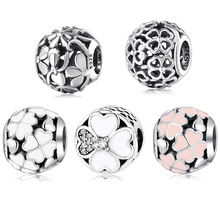 New Hearts four-leaf clover petals Hollow Round 925 Sterling Silver Beads Fit Original JIUHAO Charm Bracelet Jewelry making