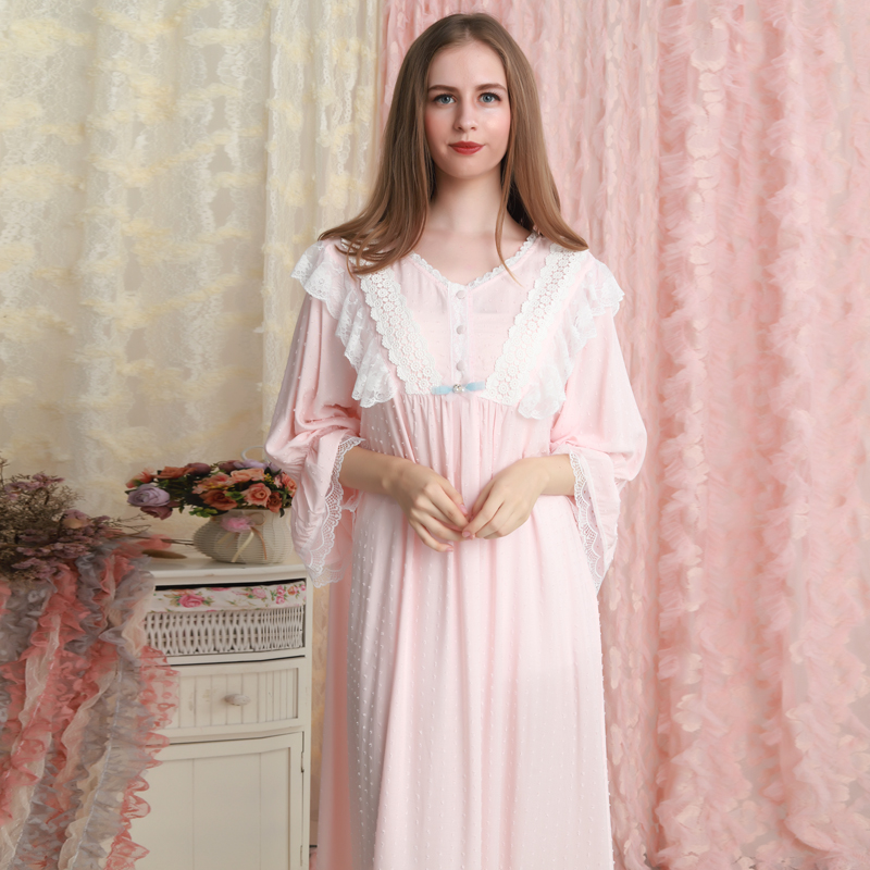 Nightgown Long Sleeve Sleepwear Cotton Lace Nightgown Woman Princess Sleepwear Long Gown Pink Nightdress Loose Nightgowns