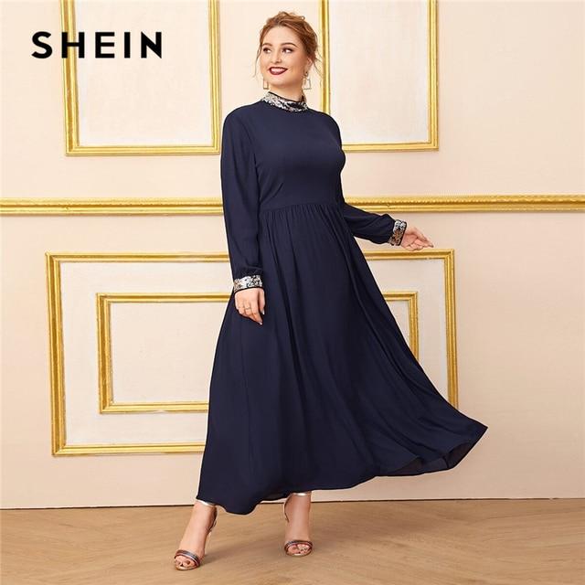 Шеин размера плюс темно синее платье с контрастной отделкой пайетками для женщин, с длинным рукавом, осень, высокая талия, ТРАПЕЦИЕВИДНОЕ элегантное платье макси