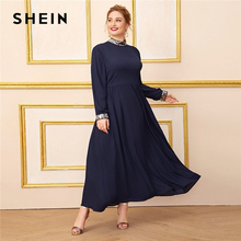 SHEIN Plus Size Navy Mock Neck Contrast Sequin Trim Dress Women Long Sleeve Autumn High Waist A Line Elegant Maxi Dresses