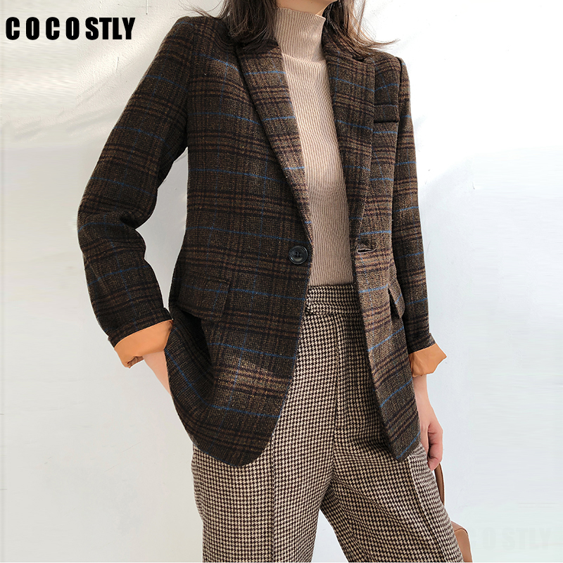 Woman Wool Suit Female Autumn Winter Blazer Woman Vintage Plaid Suit Jacket Straight Woolen Jacket Suit Slim Blazer Feminino