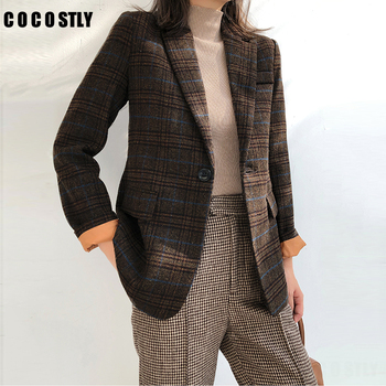 woman wool suit female autumn winter blazer vintage plaid jacket straight woolen Suit Slim Blazer feminino
