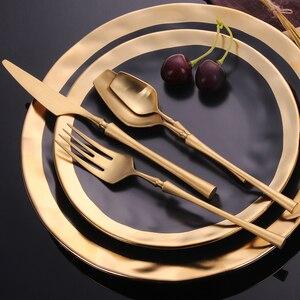 "Image 5 - נירוסטה סכו""ם סט זהב סט כלי אוכל מערבי סכו""ם כלי שולחן כלי אוכל מתנה לחג המולד מזלגות סכיני כפיות"
