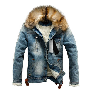 Image 4 - Winter Influx of Men Casual Denim Jacket Winter Thick Denim Jacket Retro Jacket Nagymaros Collar Cashmere Coat 4XL Direct Sales