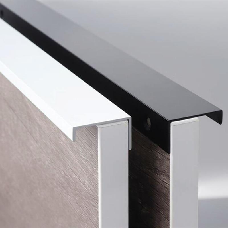 Black Silver Hidden Cabinet Handles Zinc Alloy Kitchen Cupboard Pulls Drawer Knobs Bedroom Door Furniture Handle Hardware