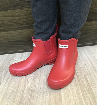 side flower rain boots women waterproof rubber fashion rainboots wedges casual high quality ankle short boots water shoes female British rain boots Ankle Snow Boots men and women Fashion short elastic rubber shoes Lovers waterproof non-slip solid Rainboots
