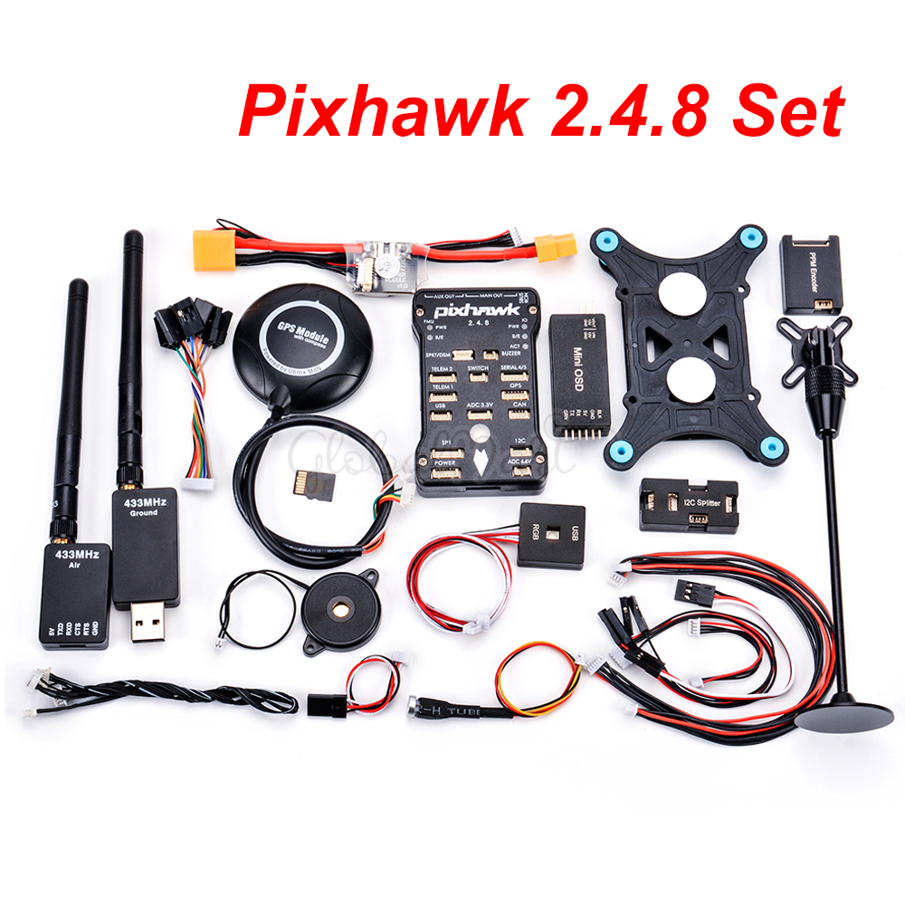 Oyuncaklar ve Hobi Ürünleri'ten Parçalar ve Aksesuarlar'de Pixhawk PX4 PIX 2.4.8 32 Bit uçuş kontrolörü w/4G SD M8N GPS Mini OSD PM RGB PPM I2C modülü 433/915 100mW 500mW Telemetri'da  Grup 1