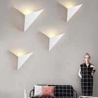 Criativo arte de ferro especial-em forma de lâmpada de parede triangular  folha de bordo lâmpada de parede  nordic simples quarto estudo hotel espelho farol
