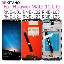 Tela drkitano para huawei mate 10 lite, display lcd nova 2i RNE L21 tela sensível ao toque para huawei mate 10 lite com moldura
