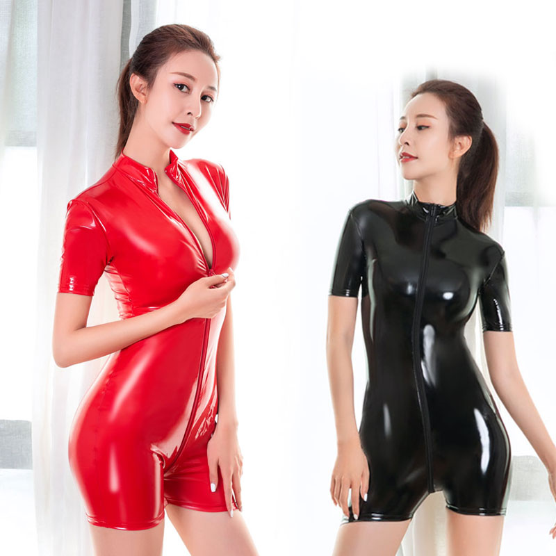 Pu Faux Leather Shiny Bodysuit Sexy Shaper Tight Open Crotch One Piece Body Suit Thong Leotard Stage Dance Wear Plus Size F37