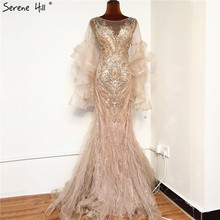 Gold Luxury Sparkl Sequins Beading Mermaid Evening Dresses 2020 Petal Long Sleeves Sexy Formal Dress Serene Hill BLA70410
