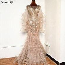 Vestido de noche dorado de lujo de sirena, pedrería de lentejuelas, manga larga, pétalo, Sexy, Formal, Hill BLA70410 Serene, 2020