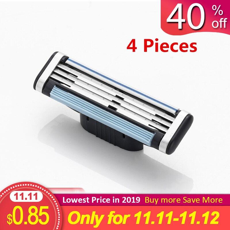 4Pcs/Set 3 Layer Shaver Blades For Mach 3 Beauty Proglide Shaving Blades Gilet Refills Cartridge Blades Razor Blades For Men