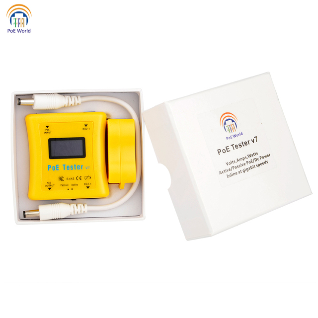 PoE World CCTV Tools PoE tester PoE Detector LED Display Testers Inline Power over Ethernet Voltage and Current Tester