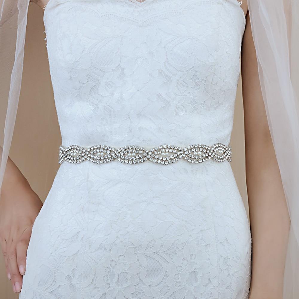 TRiXY S293  Rhinestone Belt For Wedding Dress Sash Belt Shiny Ivory Evening Dresses  Women Jewel Belt For Dress Bling Sash Belt
