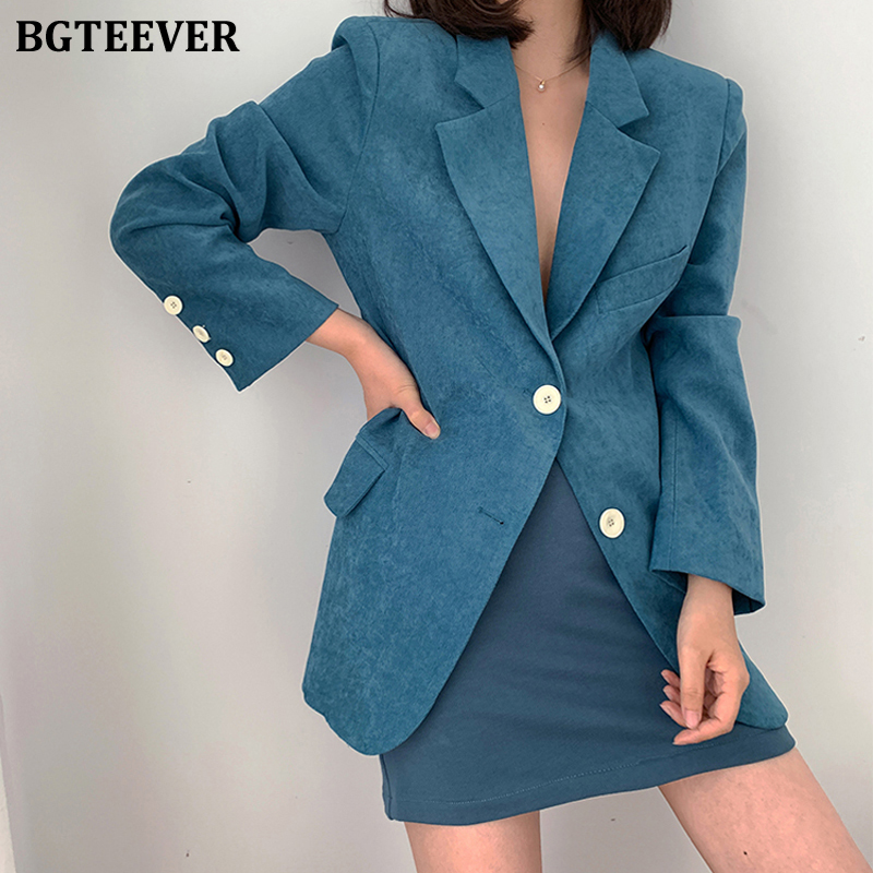 BGTEEVER Spring Blue Women Blazer Jacket Elegant Single-breasted Women Suit Jacket 2020 Summer Loose Outerwear Blaser Femme