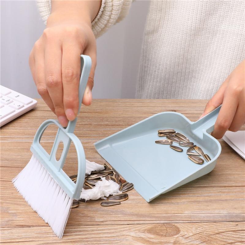 2pcs/set Plastic Mini Broom Dustpan Set Kitchen Cleaning Brushes Dust Shovel Household Small Brooms Shovel Set Cleaner Tools