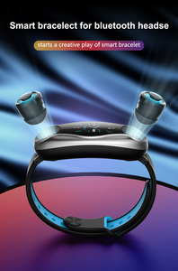 Image 3 - T90 TWS Bluetooth douszne słuchawki 2 w 1 BT 5.0 inteligentna opaska mężczyźni kobiety android ios zegarek zadzwoń bransoletka fitness douszne zatyczki do uszu